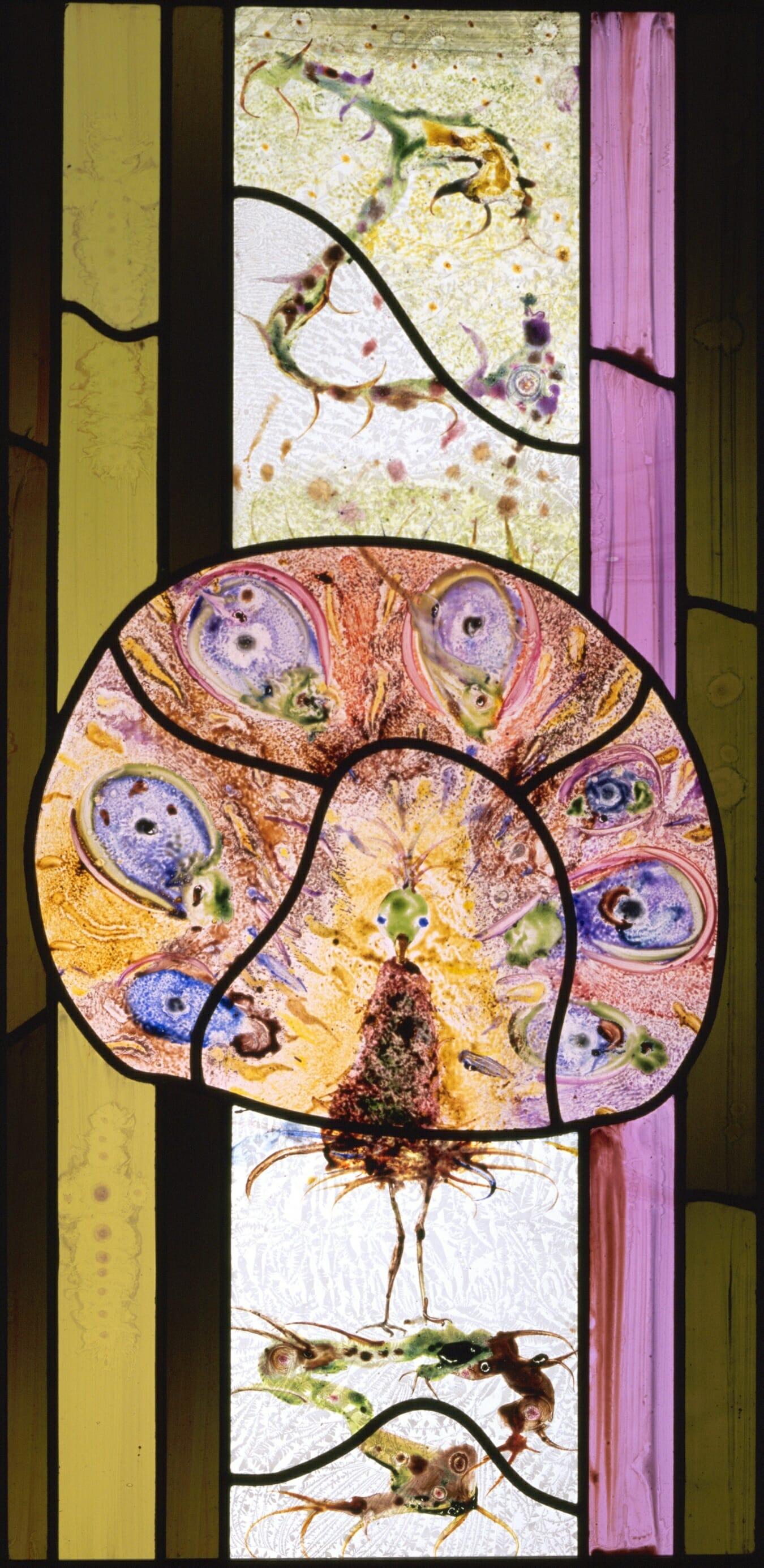 Een tuin van glas (detail pauw)